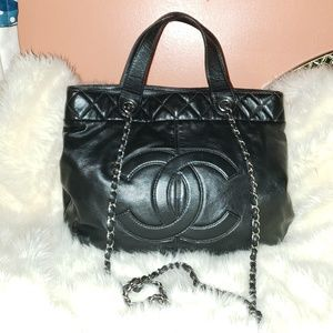 Chanel CC Quilted Chain Handle Tote Shoulder Bag